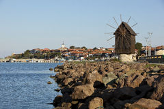 Nesebar Windmill. Nesebar is an ancient city and a major seaside resort on the Black Sea coast of Bulgaria, located in Nesebar municipality, Burgas Province Stock Photos
