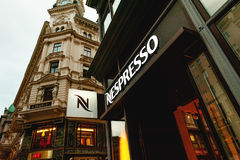 Nespresso store logo on a shopping street in Vienna, Austria Stock Photography
