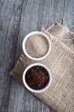 Ness coffee powder and brown sugar Stock Photos