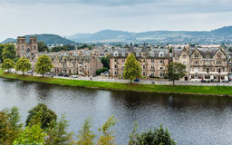 Ness Walk in Inverness. Inverness, Scotland - September 19, 2014: Ness Walk and Ardross Terrace waterfront river panorama from castle. The edwardian and Stock Photography