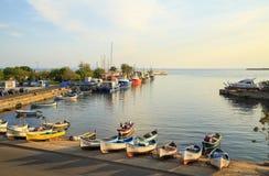 Nessebar,保加利亚老镇的港口  库存照片