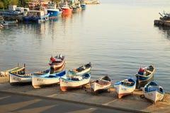 Nessebar,保加利亚老镇的港口  免版税图库摄影