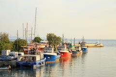 Nessebar,保加利亚老镇的港口  免版税库存图片