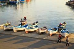 Nessebar,保加利亚老镇的港口  免版税库存照片