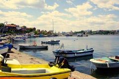 Nessebar гавань побережья Болгарии, Чёрного моря в старом городке Стоковое Изображение RF