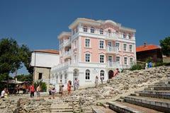 婚礼大厅和市政厅在Nessebar,保加利亚老镇  图库摄影