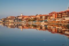 Nessebar, Bulgaria - APRIL 24, 2013 - Panoramic view of Nessebar, ancient town on the coast of Black Sea Royalty Free Stock Photos