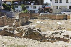 Early Byzantine thermae in old town of Nessebar, Bulgaria. NESSEBAR, BULGARIA - AUGUST 12, 2018: Early Byzantine thermae in old town of Nessebar, Burgas Region stock photography