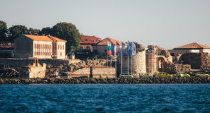 NESSEBAR, BULGARIA, AUGUST 31, 2015: Panoramic view of ancient town of Nessebar from sea. Stock Photography