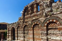Ruins of Ancient Church of the Holy Archangels Michael and Gabriel in the town of Nessebar, Royalty Free Stock Image