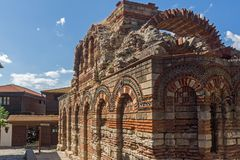 Ruins of Ancient Church of the Holy Archangels Michael and Gabriel in the town of Nessebar, Stock Photo