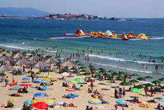 Nessebar Bulgaria - beach in the new town. Nessebar, Nesebar Bulgaria - crowded beach in the new town in July.  Black sea coast Stock Photo