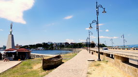 Nessebar Bulgaria, Black sea coast. Sea front. Nesebar Bulgaria, Black sea coast. Sea front with statue of St. Nicholas on the left and new town on the Royalty Free Stock Photography