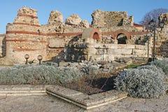 Nessebar, Bulgaria, February 2016. Ruins at Old Nessebar. Illust Stock Photo