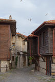 NESSEBAR, BULGARIA, JUNY 20, 2016: architectural solutions Nessebar old town buildings. residential quarter. Stock Photos