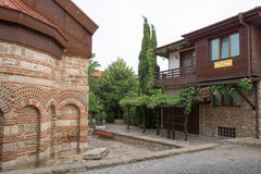 NESSEBAR, BULGARIA, JUNY 20, 2016: architectural solutions Nessebar old town buildings. residential quarter. Royalty Free Stock Photos