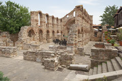 NESSEBAR, BULGARIA, JUNY 18, 2016: the ruins of ancient buildings Nessebar old town. Stock Photos