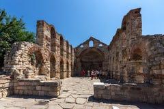 NESSEBAR, BULGARIA - 30 LUGLIO 2014: Chiesa antica del san Sofia nella città di Nessebar, Bulgaria Fotografia Stock