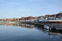 NESSEBAR, BULGARIA - MARCH 7, 2016 - Panoramic view of Nessebar, ancient town on the coast of Black Sea Stock Image