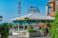 Nessebar, Bulgaria - 7 Sep 2018: The front of a Fish & Sea Food restaurant in Nesebar ancient city. Nessebar or Nesebr is a UNESCO. World Heritage Site stock images