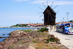 Nessebar Bulgaria. The wooden windmill. The wooden windmill- the symbol of Nessebar, on the isthmus before the entrance to the old town of Nessebar, Bulgaria Stock Images