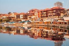 Nessebar, Bulgarije - APRIL 24, 2013 - mening van Nessebar, oude stad op de kust van de Zwarte Zee Stock Afbeelding