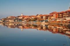 Nessebar, Bulgarije - APRIL 24, 2013 - Panorama van Nessebar, oude stad op de kust van de Zwarte Zee Royalty-vrije Stock Foto's