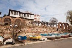 Nessebar, Bulgarije - Februari 27, 2016: Oude houten vissersboten in nessebar, oude stad op de kust van de Zwarte Zee van Bulgari Royalty-vrije Stock Fotografie