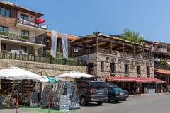 NESSEBAR, BULGARIJE - 30 JULI 2014: Steet in oude stad van Nessebar, Bulgarije Stock Afbeeldingen
