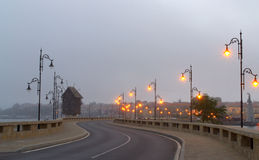 Nessebar town foggy evening street Stock Image