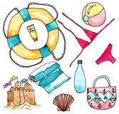Nessesery accessories for beach - watercolor illustration on white. Beach set with bikini, towel, ball and other - watercolor painting on white background stock illustration