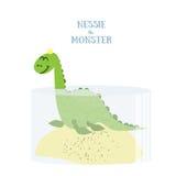 Nessie le monstre Illustration plate de vecteur Loch Ness Monster d'isolement sur le fond blanc Photos stock