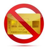 Nessun accreditamento o carte di credito non permesse illustrazione di stock