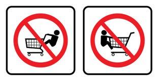 Nessun bambini sulla raccolta del segno del carrello illustrazione di stock