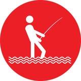 Nessun bottone del segno di pesca Fotografie Stock Libere da Diritti