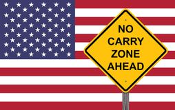 Nessun Carry Zone Ahead - segno di cautela Immagine Stock Libera da Diritti