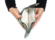 Nessun concetto di acquisto con il portafoglio vuoto aperto della donna Fotografie Stock Libere da Diritti