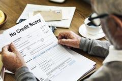 Nessun debito Deny Concept del punteggio di credito Immagine Stock Libera da Diritti