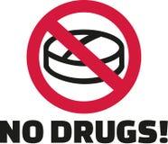 Nessun droghe - compressa nel segno di divieto illustrazione vettoriale