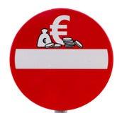 Nessun euro segnale stradale dell'entrata di valuta immagini stock