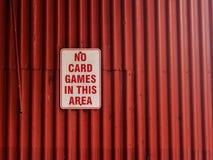 Nessun giochi con le carte in questa area immagine stock libera da diritti