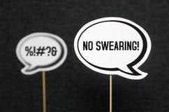 Nessun giurare, cattiva lingua e parole Immagini Stock
