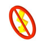 Nessun'icona del fulmine, stile isometrico 3d Immagini Stock