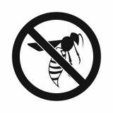 Nessun'icona del segno della vespa, stile semplice illustrazione di stock