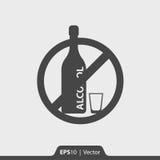 Nessun'icona dell'alcool per il web ed il cellulare Fotografia Stock