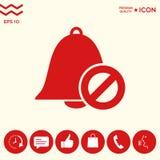 Nessun'icona della campana Segno di proibizione Arresti il simbolo Fotografia Stock Libera da Diritti