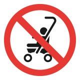 Nessun'icona della carrozzina, stile semplice illustrazione di stock