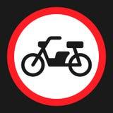 Nessun'icona piana del segno di proibizione del motociclo Fotografie Stock