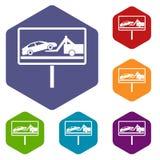 Nessun icone del segno di parcheggio messe Fotografie Stock