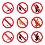 Nessun insieme del segno del fuoco Fotografia Stock Libera da Diritti
